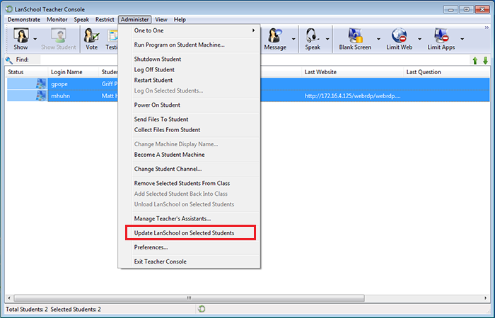 Select Highlight The Students On Demo Channel And Click Administer Update Lanschool Selected Option